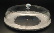ACRYLIC SERVING WARE-silver Cake plate