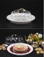 Cake/bread Platter W Cover Whit Gold Print 36X13cm (NEW)