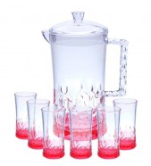 Acrylic Water Set 7Pcs Red Stone Design (NEW)