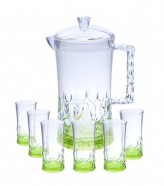 Acrylic Water Set 7Pcs Green Stone Design (NEW)