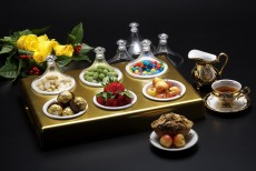 AC Golden Tray With 6 MIni Tajin  41.5x28.5x13 cm