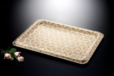 Ac. Traditional Tray Beige 'W Gold Printing 80X60cm , T. 3.3mm