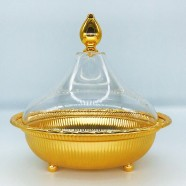 VAGUE ROUND SHAPE METAL GOLDEN DATES BOWL MG W/ AC COVER 20cm