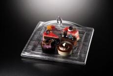 Ac. Square Dessert Serving Set Square Bark Clear 35X35cm Vague