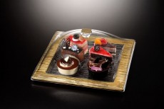 Ac. Square Dessert Serving Set Square Bark Golden 31X31cm Vague