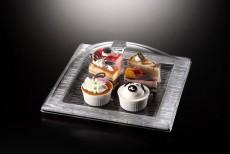 Ac. Square Dessert Serving Set Square Bark Silver  35X35cm Vague