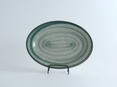 H.P Deco. Green / Oval Plate 14