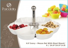 H.P lvory - Mezza Set With Steel Stand/6 / 24.6*24.6*14.8