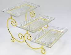 GOLD / Cake Stand 3 Tyers W Glass Platter 27X16cm
