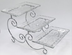 SILVER / Cake Stand 3 Tyers W Glass Platter 27X16cm