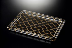 Ac. Traditional Tray Clear 'W Gold Printing 75X54cm , T. 3.3mm
